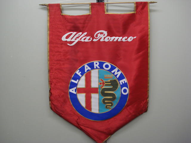 An original silk Alfa Romeo showroom display banner,