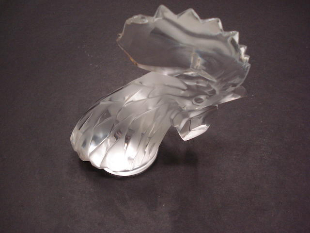 A clear Tete de Coq glass mascot by Rene Lalique, post-war,