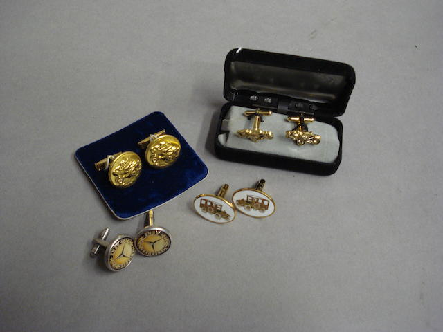 Four pairs of motoring cufflinks,