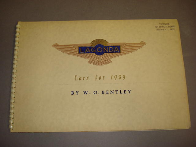 A Lagonda 'Cars for 1939' sales brochure,