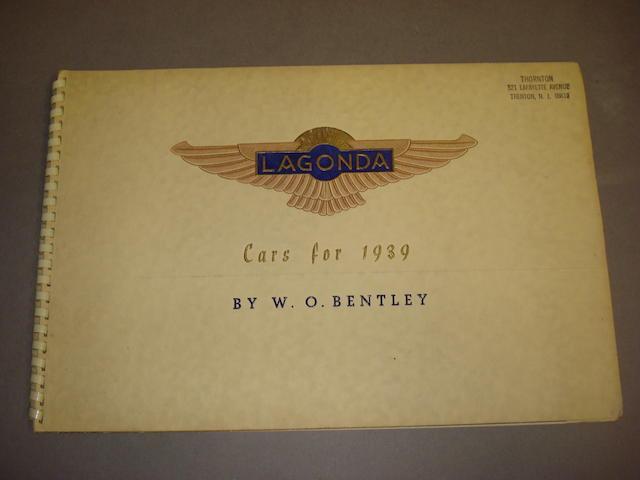 A Lagonda 'Cars for 1939' sales brochure,