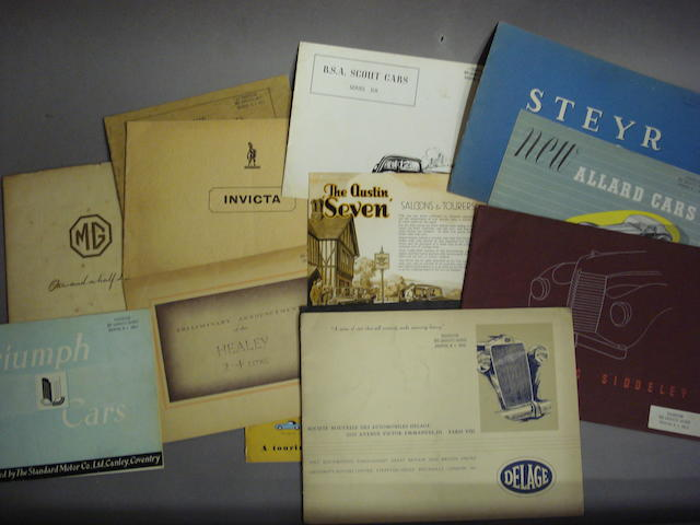 A good selection of mainly British and European marque sales literature,