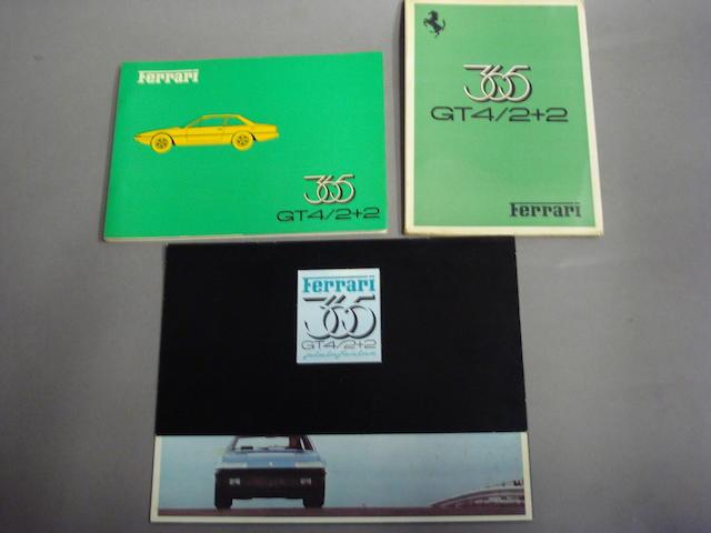 A selection of original Ferrari 365 GT4 2 2 literature,