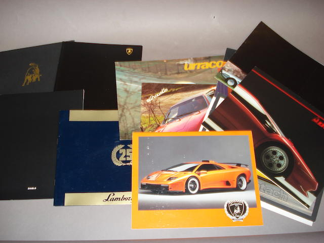 A good selection of Lamborghini sales literature,
