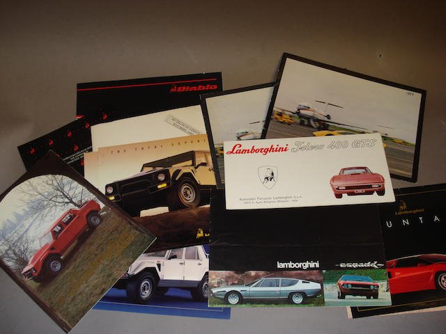A selection of Lamborghini sales literature,