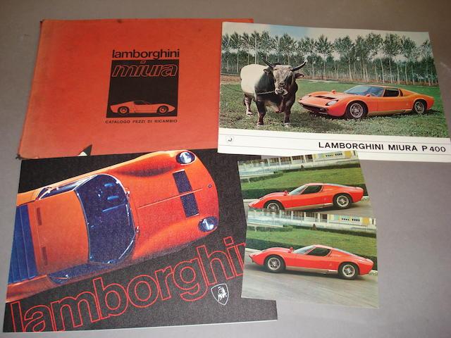 A good selection of original Lamborghini Miura literature,