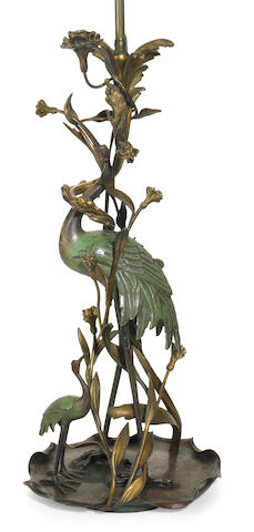 A French gilt, patinated and cold painted bronze table lamp  early 20th century