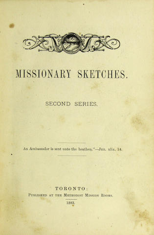 [FIJI.]  [YOUNG, ROBERT.] Missionary Sketches. Second Series. Toronto: Methodist Mission Rooms, 1883.