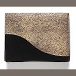 A silk brocade leaf motif clutch purse, Cartier