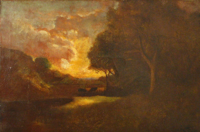 William Keith, Cattle watering at twilight admidst oaks, o/c, 20 x 30in