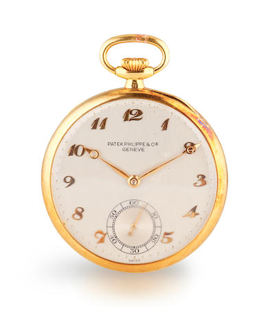 An 18k gold open face pocket watch, Patek Philippe, may need overhaul