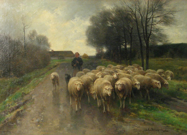Cornelis van Leemputten (Belgian, 1841-1902) A shepherdess with her flock  20 1/2 x 28in