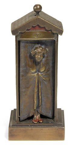 A Franz Bergman cold painted bronze mechanical bathing beauty circa 1900