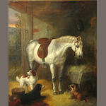 English School An interior of a stable with a horse and three dogs 24 x 20in