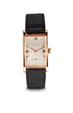 Patek Philippe, An 18K rose gold shaped rectangular wristwatchRef 1588, case no. 659308, movement no. 971982, circa 1948