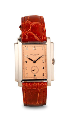 w/w 18k white gold, Patek Philippe, model 5024, Gondolo with gold buckle, rectangular, movemetn 1,849,394 PP