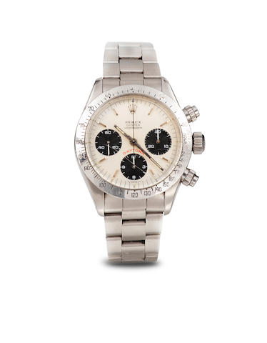 Rolex. A fine stainless steel wrist chronograph and braceletOyster Cosmograph Daytona, Ref. 6265, Sold 1982