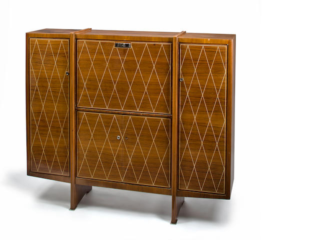 An Alfred Porteneuve ivory inlaid mahogany cabinet