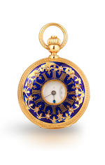 A late 18th century enameled gilt metal verge watch and two other watches