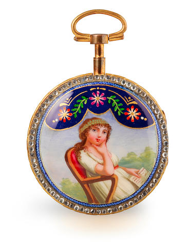 An enamelled and paste set gilt metal verge watch and two other watchesSwiss , signed Le Roy, No. 169 late 18th century