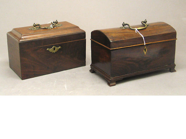 Two mahogany tea caddies
