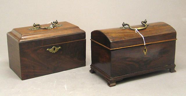 Two George III mahogany tea caddies late 18th century