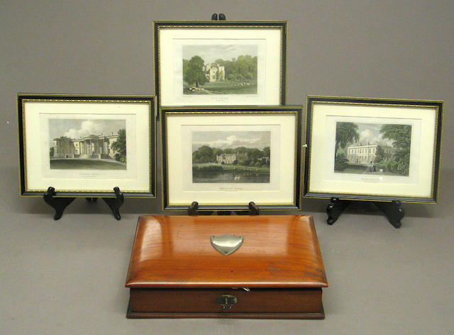 An English mahogany wood book form writing box and four framed colored prints of English estates second half 19th century