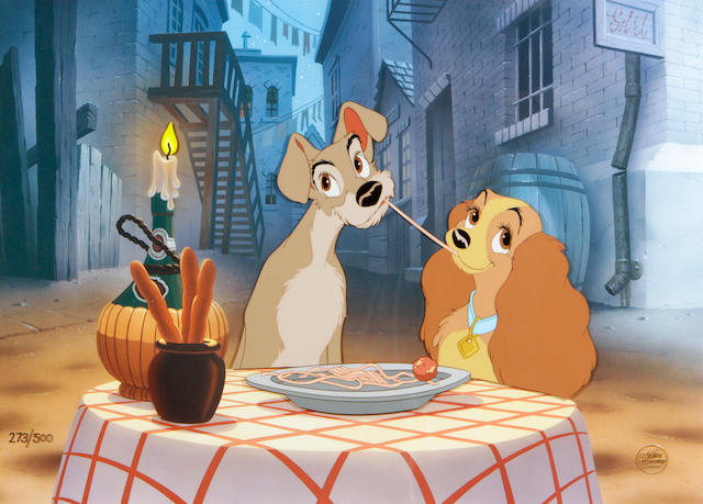 A Walt Disney limited edition celluloid of Lady and the Tramp