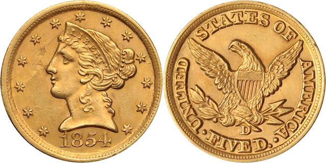1854-D $5 Medium D