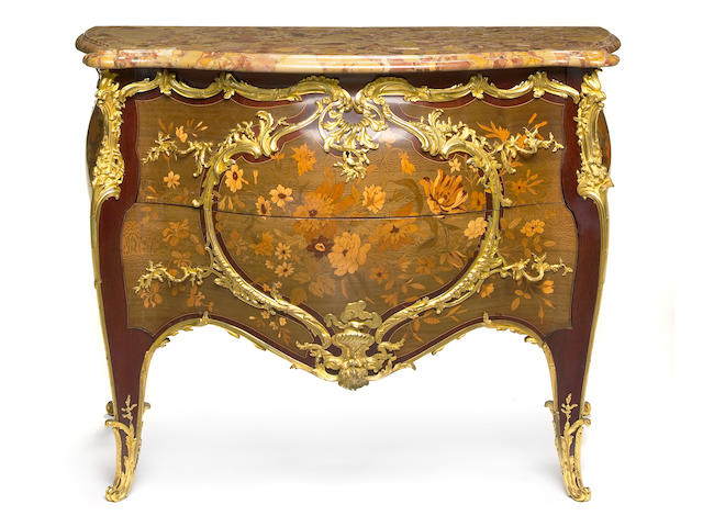 A fine Louis XV style gilt bronze mounted marquetry commode Zwiener Jansen Successeur late 19th century