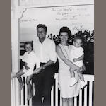 10x8 B+W first family at Hyannisport inscribed JBK, signed JFK