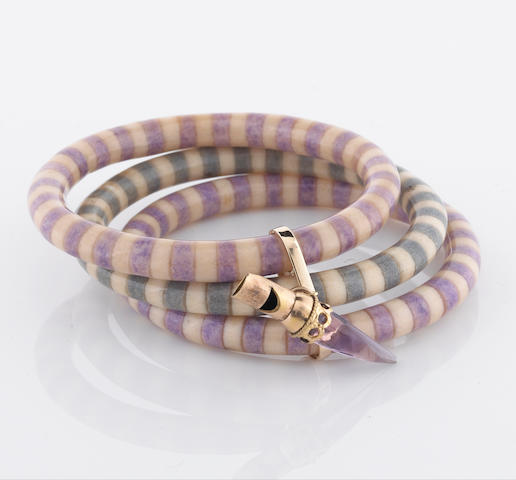 A colored composite three bangle set attached with an amethyst whistle charm