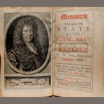 PEPYS, SAMUEL. 1633-1703. Memoires relating to the State of the Royal Navy of England. London: Ben. Griffin, 1690.