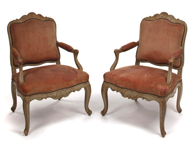 A pair of early Louis XV painted fauteuils à la reine<br>circa 1740