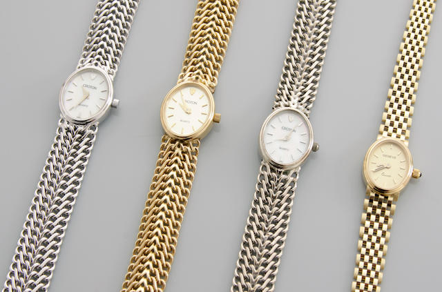 A collection of nine gold bracelet wristwatches,