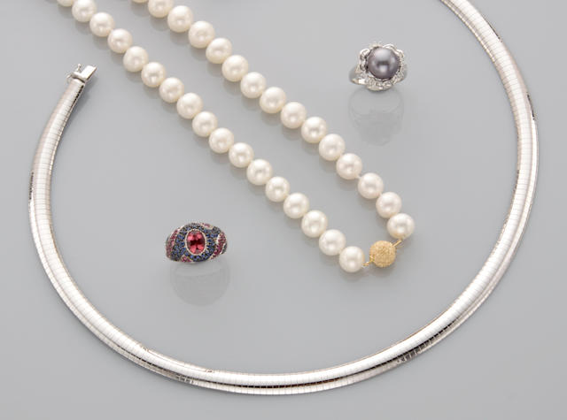 A collection of cultured pearl, gem-set and gold jewelry,