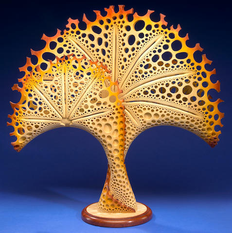 "Hand-carved North American Basswood Sculpture-- ""The Sea Fan"""