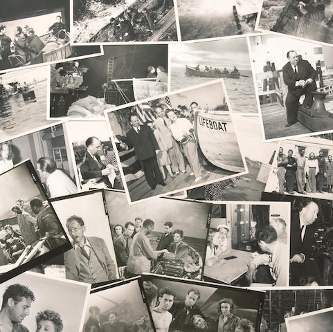 """A large collection of black and white film stills from """"Life Boat"""""""