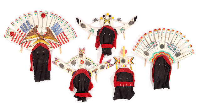 Five Apache Gaan Dancer masks