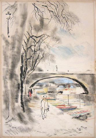 Emilio Grau Sala (Spanish, 1911-1975) Canal scene, 1950 22 1/2 x 15 1/4in