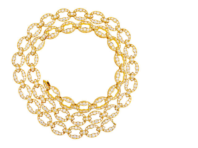 A diamond and eighteen karat gold necklace, Tiffany & Co.