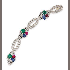 An art deco diamond, gem-set and enamel bracelet, Mauboussin,