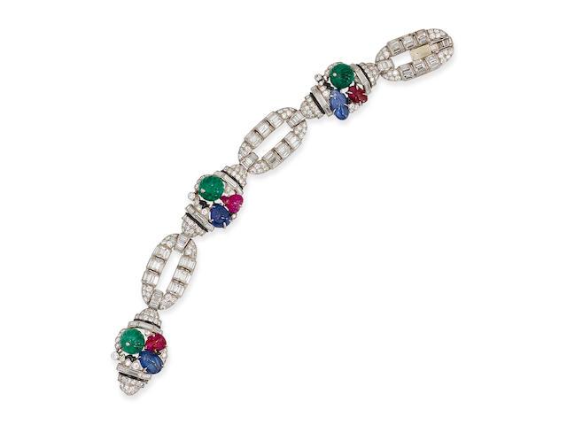 An art deco diamond, gem-set and enamel bracelet, Mauboussin,