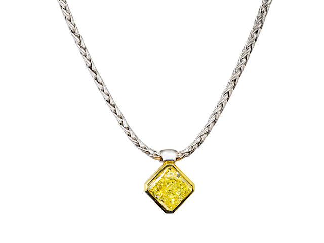 An impressive fancy colored diamond pendant necklace