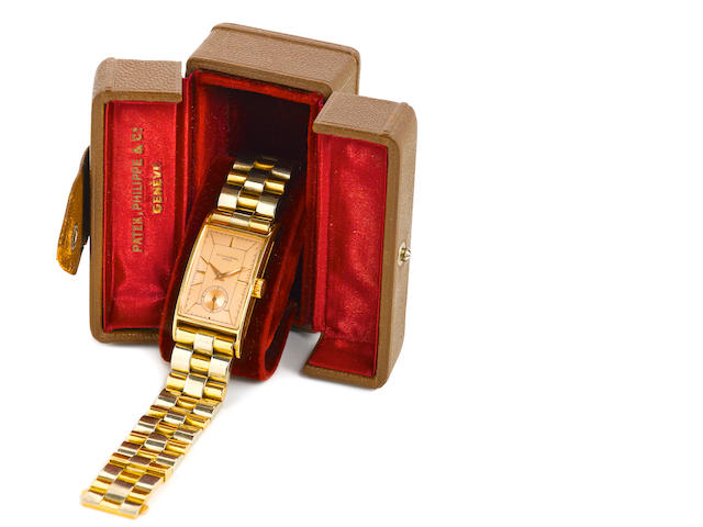 Patek Philippe. A fine and rare 18K rose gold rectangular wristwatch and Art Deco braceletCase No. 617548, Movement No. 832605, circa 1938
