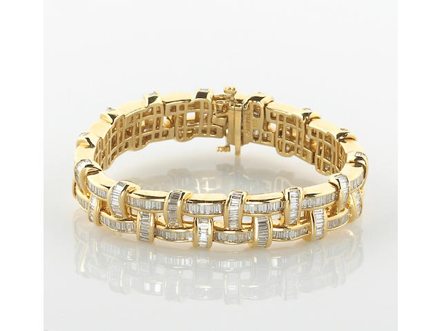 A diamond basket weave motif bracelet, Charles Krypell