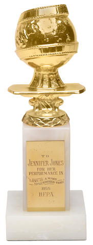 "A Jennifer Jones Golden Globe award for ""Love Is A Many-Splendored Thing,"" 1955"