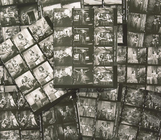 "An enormous collection of black and white contact sheets from ""The Ten Commandments"""