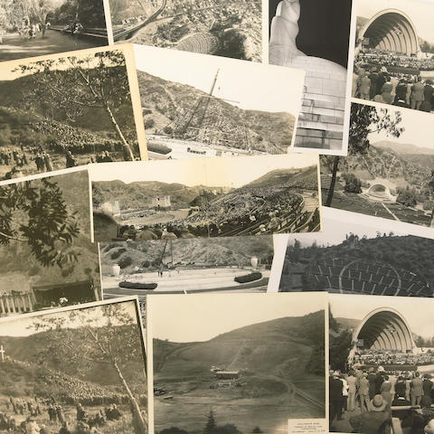 A large collection of sepia and black and white historic photographs of the Hollywood Bowl, 1920s-1960s