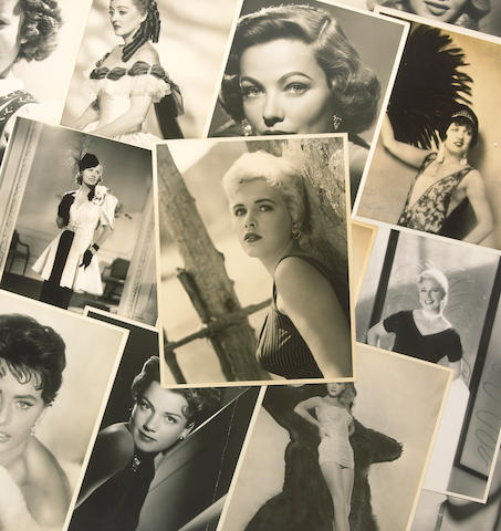 A group of black and white photographs of actresses, 1930s-1950s